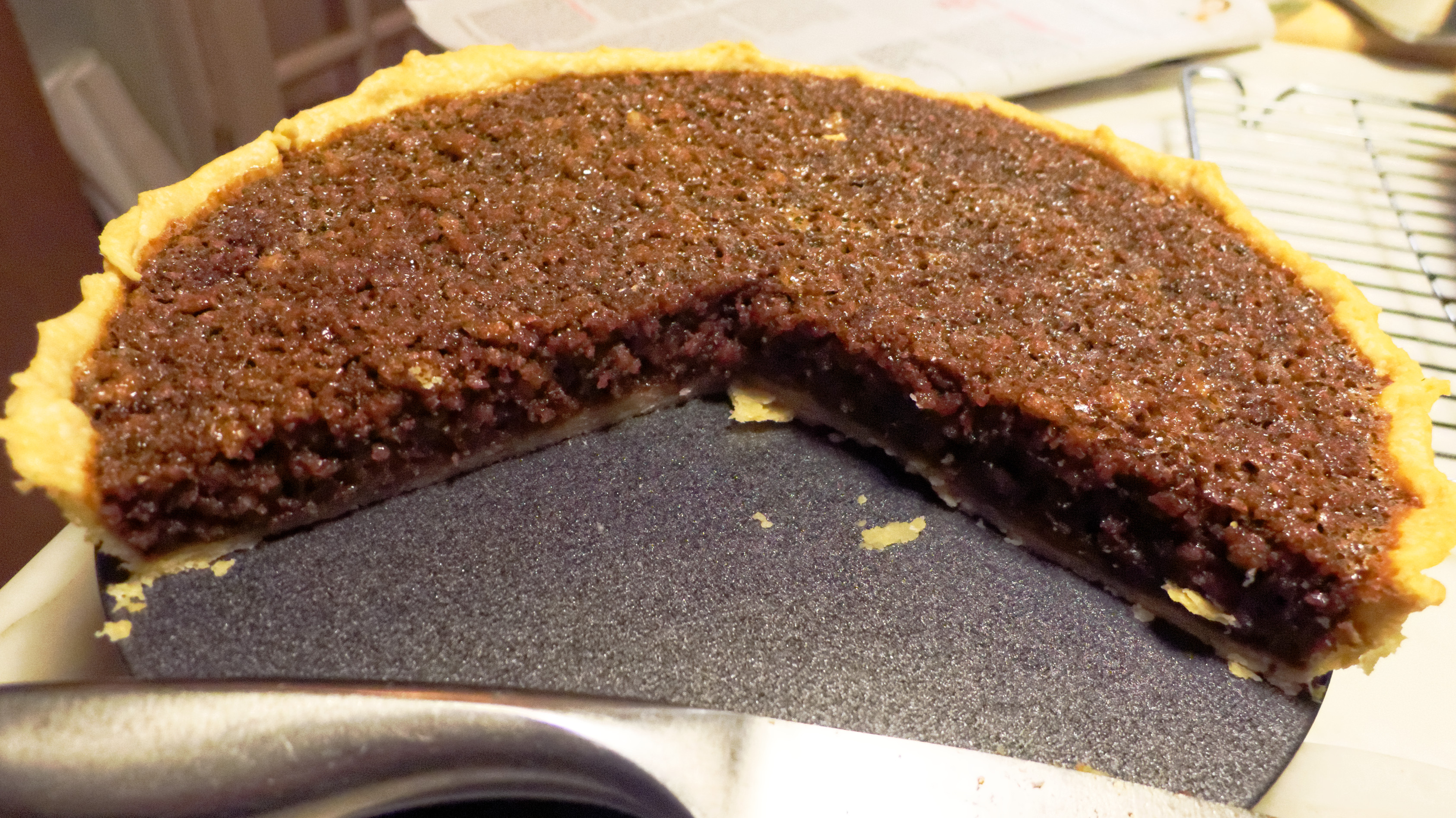 Treacle tart, with sourdough breadcrumbs and treacle
